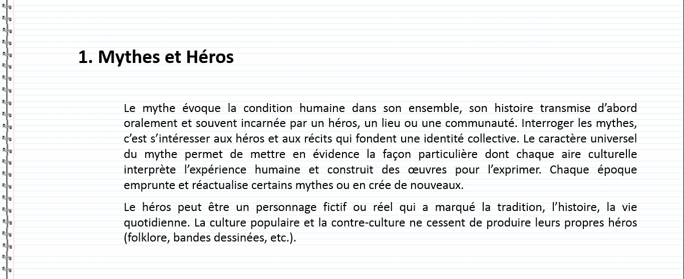 definition de la notion mythes et heros
