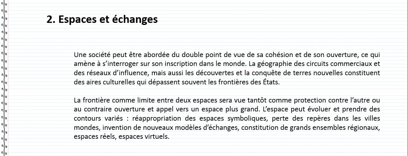 espace et echange definition espagnol