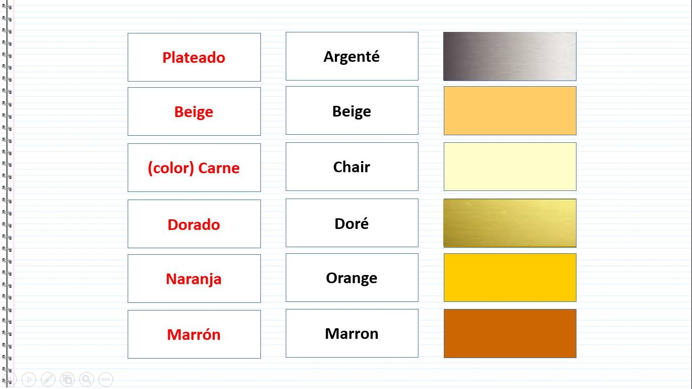 Cours d 39 espagnol gratuit les couleurs en espagnol - Couleur beige en anglais ...